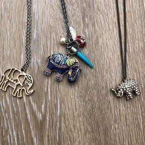 Set of 3 Elephant Necklaces